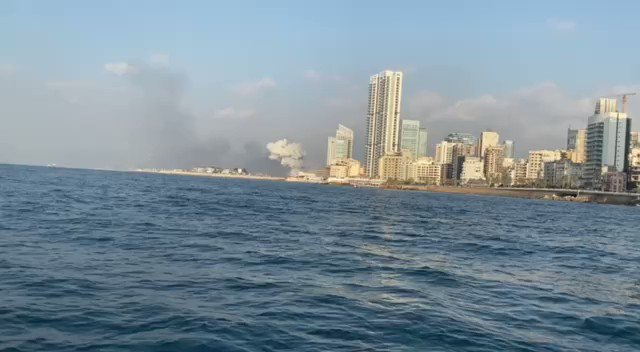 A view of the explosion from the coast in Beirut. That's massive.
