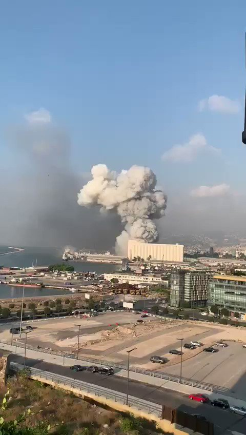 Massive explosion rocks Beirut. I checked on my family there before posting. Our house was shaking but everyone is okay.   This is insane!   @akhbar