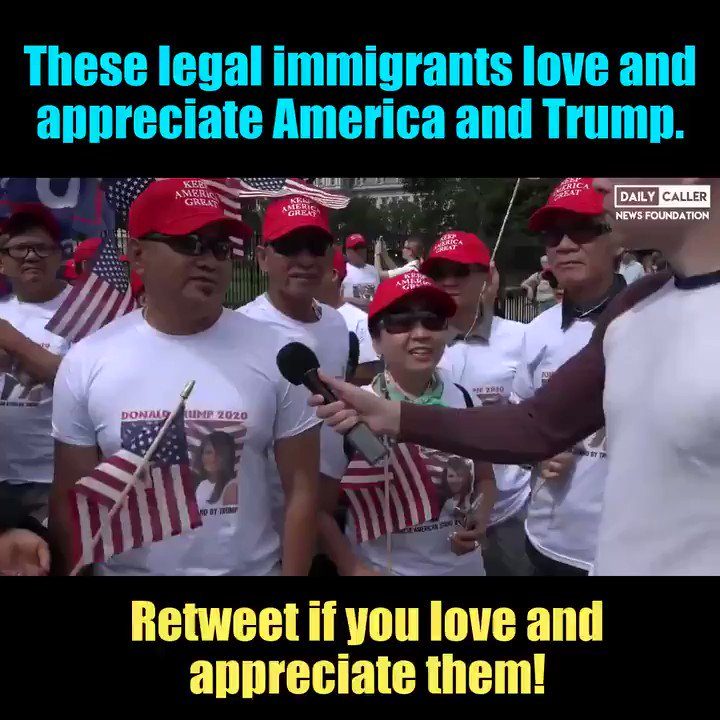 Hey Democrats, take note, cause these immigrants came in the legal way. They didn't expect anything. They are hard working. They want the wall. And lastly, they are patriotic  cause they LOVE America.  It seems they love this country more than liberals do!