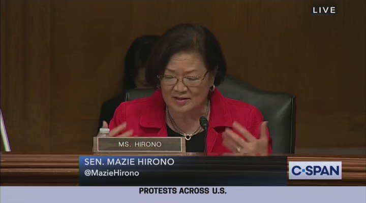 """.@SenTedCruz to Sen. @maziehirono:  CRUZ: """"You're welcome to say something negative about Antifa right now.""""  HIRONO: """"I think that I've covered the subject quite well""""  CRUZ: """"She declined to speak so that is the position of the Democratic Party"""""""