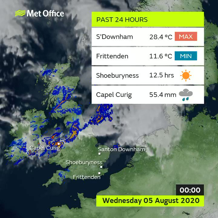 #Wednesday was a windy day across the #UK with further heavy and persistent rain across parts of Wales and northwest England. In the sunshine across the east Anglia it turned very warm  These are the extremes 👇