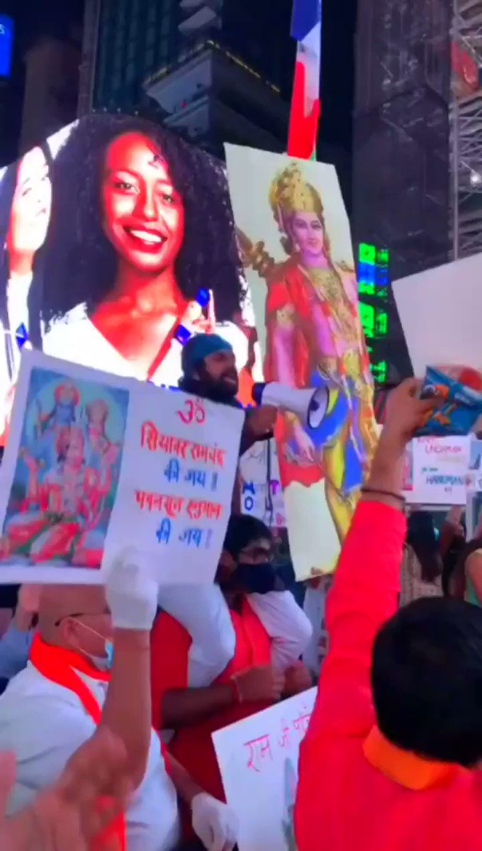 Times Square, New York :  Massive celebration going on right now #RamMandir
