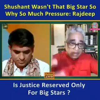 According to Rajdeep Sardesai Shushant Singh Rajput wasn't that big star. Even if he wasn't, is justice reserved for the big stars like Ranbir, Varun, Sonam only ? Looks like He Is Been Highly Paid By Bolkywood Mafia. Shame On Rajdeep Sardesai.  #DishaAndSSRCaseLinked