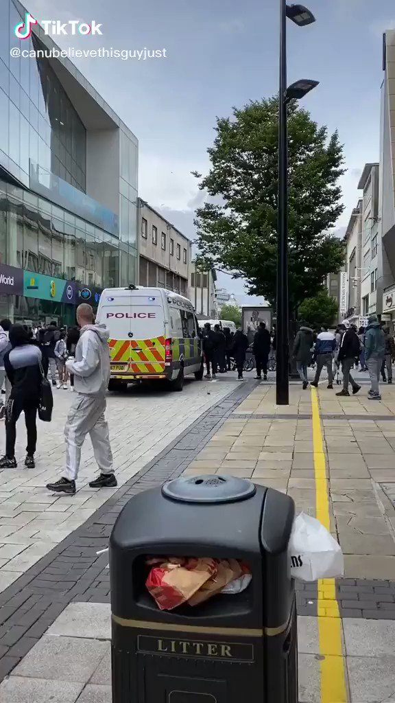 Riots and a stabbing in Birmingham earlier today.