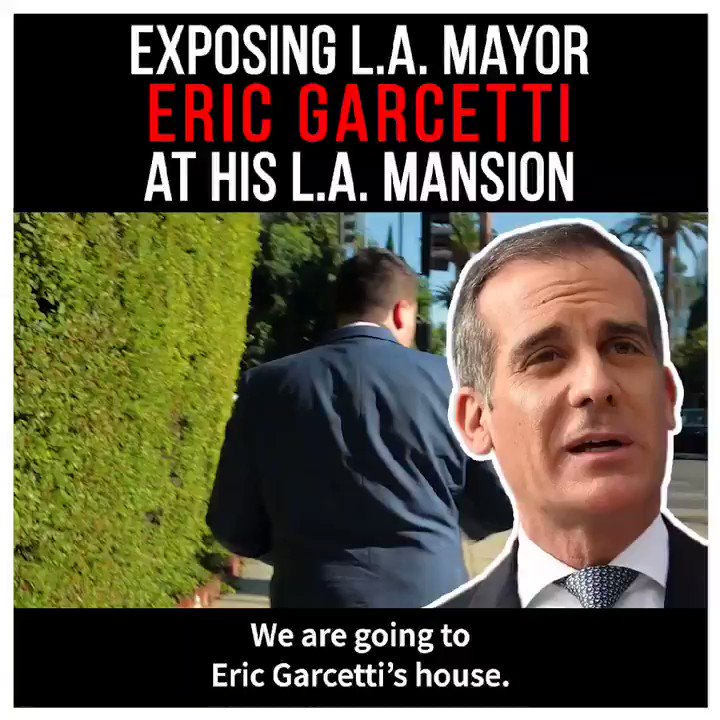 I went to Los Angeles Mayor Eric Garcetti's mansion in LA and discovered that he is a fraud and hypocrite.  He lives high and mighty in his mansion with a wall, security, and surveillance cameras.  Yet he is against the border wall and he defunds the LA police.  Please retweet
