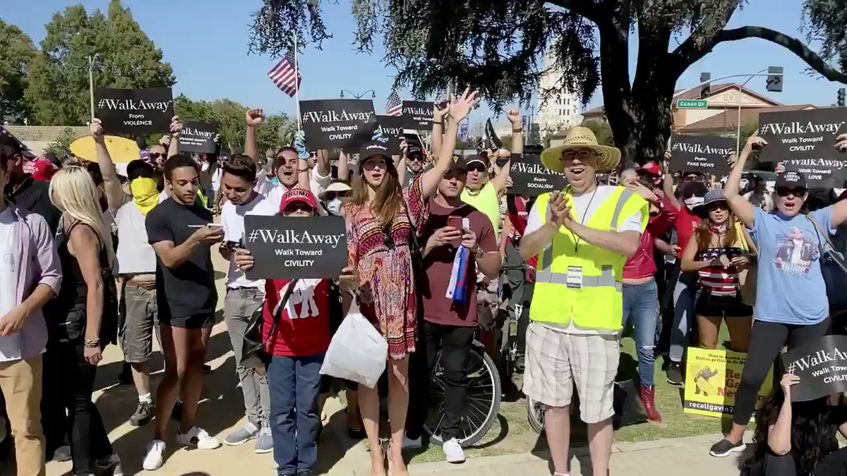 Several people in Beverly Hills and LA,  with Trump banners and flags telling them just to #WalkAway  Time to wake up to the truth of your Democrats.  They only want power, no interest in the American people.