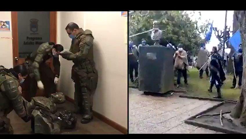 🟢 Carabineros de la Araucanía recuperó busto de Arturo Prat derribado por violencia terrorista en Curacautín. #TerrorismoEnLaAraucania #LaIntocableGutierrez #