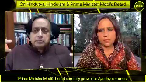 After Saffron Terrorism, now it is time to attack Modi's beard!  Can you believe Shashi Tharoor explains Burkha Dutt why he is not happy with PM Modi's communal beard!😂
