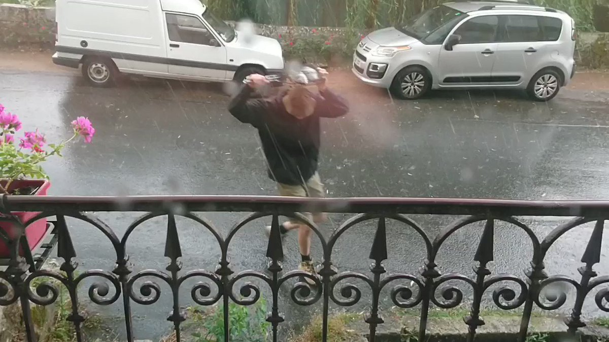 It was raining so hard in Central France today, fish were being used as umbrellas.