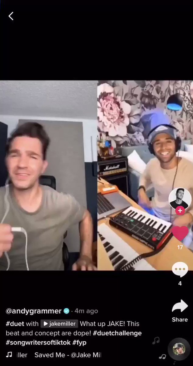 """YESSSS @andygrammer did a duet to """"SAVED ME"""" on TikTok! Killed it"""