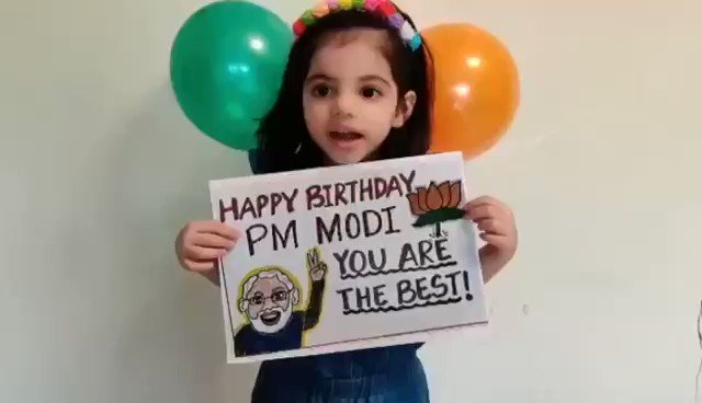 आज हमारे स्कूल के नन्हें बच्चों ने अपने प्रिय प्रधानमंत्री मोदी जी को को देखिए किस तरह जन्मदिन की शुभकामनाएं देते हैं ।बच्चों का प्रेम अपने पी॰एम॰ @narendermodi ji के लिए देखते ही बनता है । #HappyBdayNaMo  #JanNayakNamo