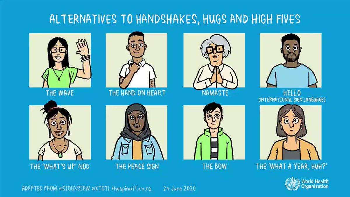 #IndiaFightsCorona:  📍Maintain #PhysicalDistance to prevent the spread of #COVID19 Say NO to ❌Handshakes🤝 ❌Hugs ❌High fives👋 Instead choose some other alternatives during #COVID__19👇  Share this information to spread awareness Via @WHO