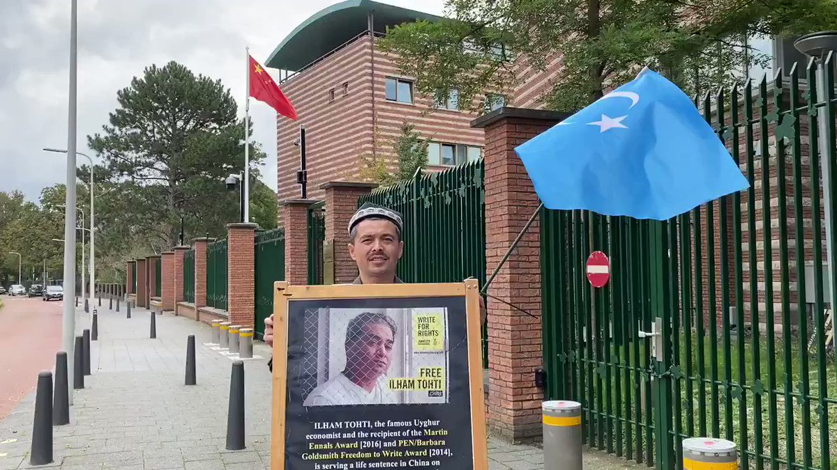 In front of #China embassy in the #Netherlands Free #IlhamTohti #OneManUyghurProtest  @JewherIlham