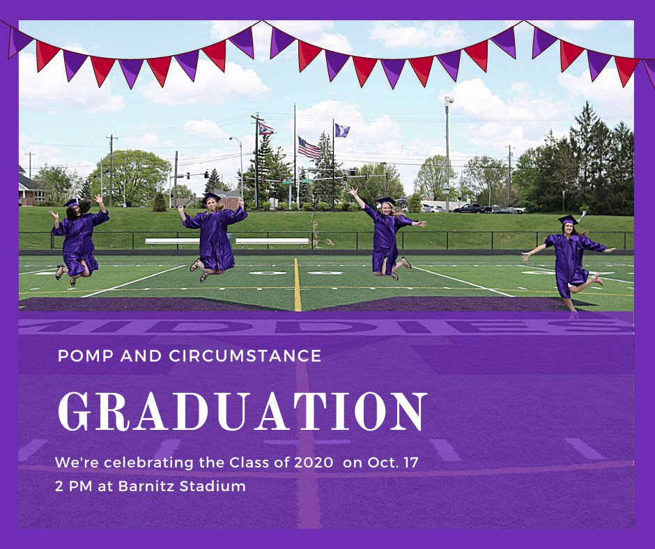 On Saturday, Oct 17 at 2 PM, there will be one graduation ceremony at Barnitz Stadium. 360 strong, Middletown City Schools (finally and officially) congratulates the Class of 2020 for their success! Details to come! #MiddieRising @MHSMiddieTweets @CityMiddletown