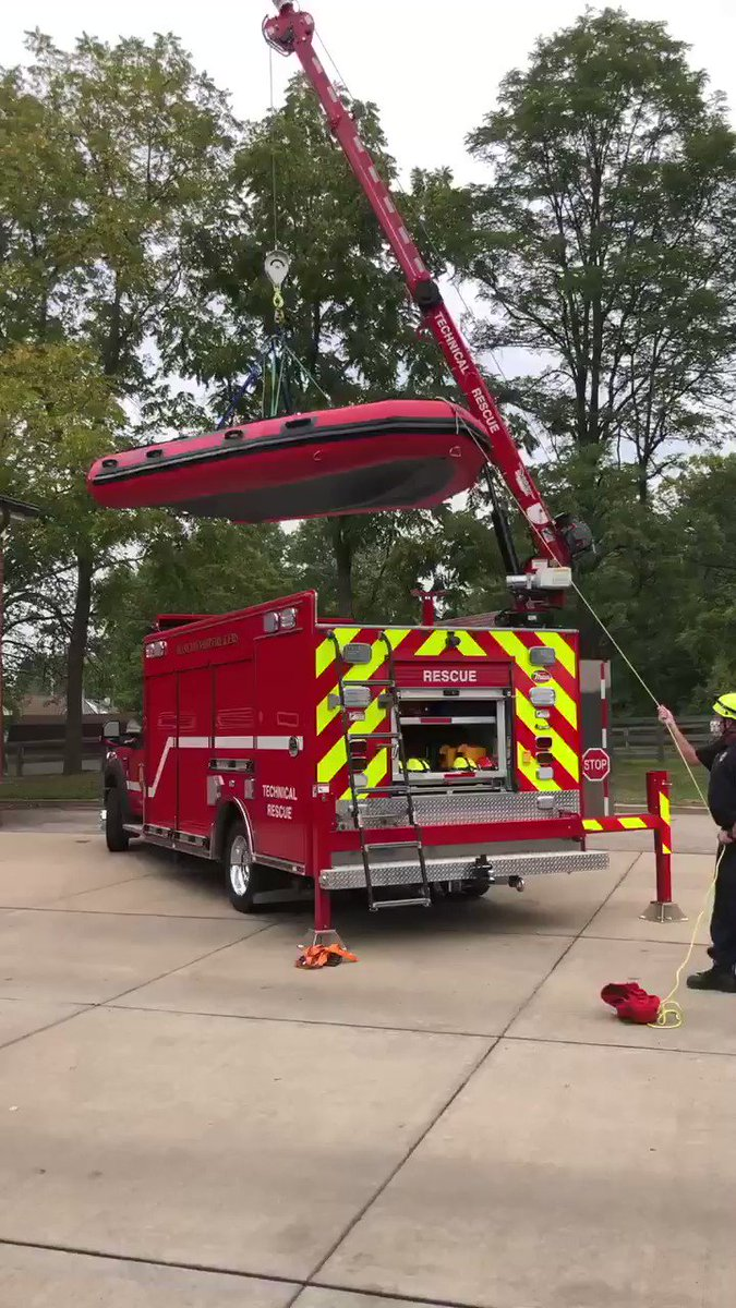 Thank you to MilPro Marine for delivering our new Inmar boat today. This boat is replacing the original boat carried on Rescue 27. #rescue #swiftwater #river