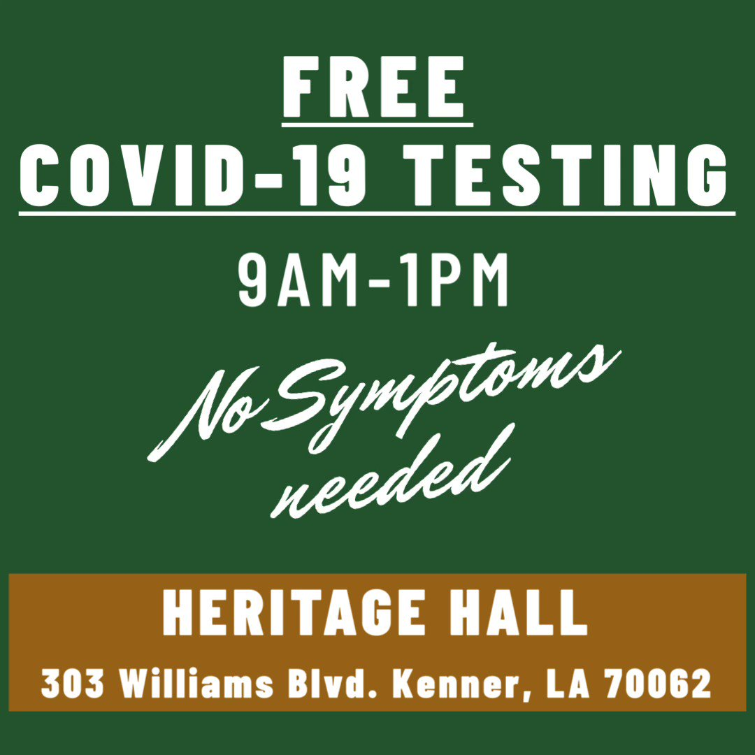 Heritage Hall will be open tomorrow, September 25, 2020 for FREE COVID-19 testing from 9 a.m. - 1 p.m.  You do not have to have symptoms to be tested. Please bring a form of identification and insurance card, if applicable.