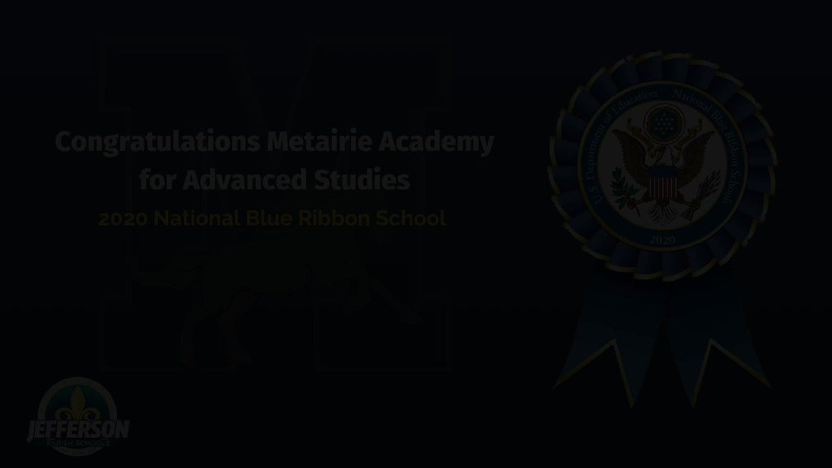 Congratulations @MetairieAcad!! The U.S. Department of Education awarded them with the 2020 @NatlBlueRibbon award. Metairie Academy is one of 367 schools announced today.  #JPschools #WeLove #WeLearn #WeLead #LaEd #NBRS2020