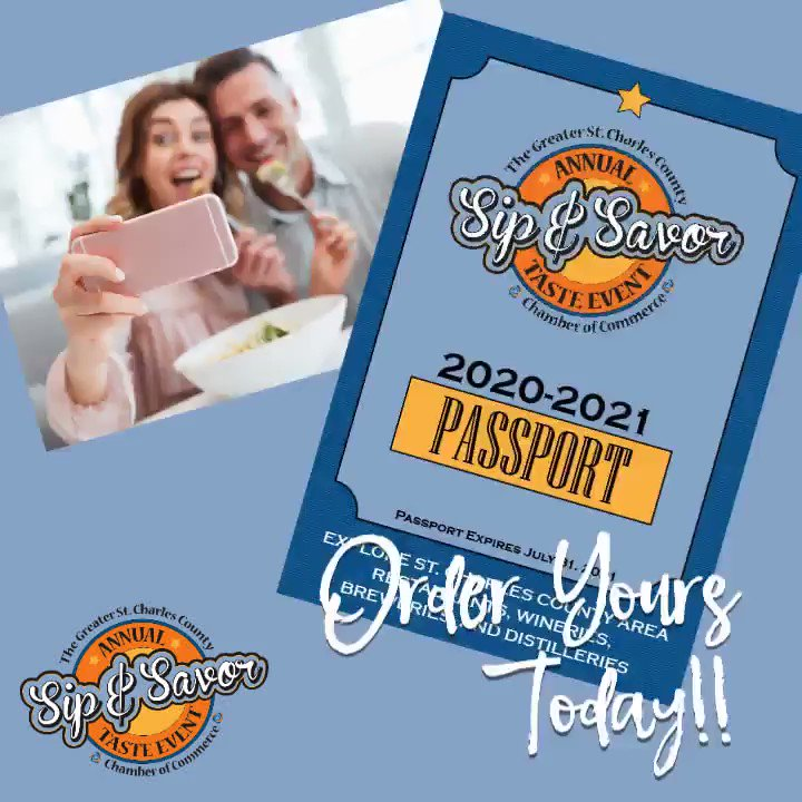 Purchase your #SipandSavorPassport today and start enjoying and supporting local restaurants, wineries, breweries, and distilleries while saving money!!    #StPeters #StCharles #SCCMO #GSTCCC #StCharlesCounty #SipandSavor2020 #FoodFest370 #SmallBusiness