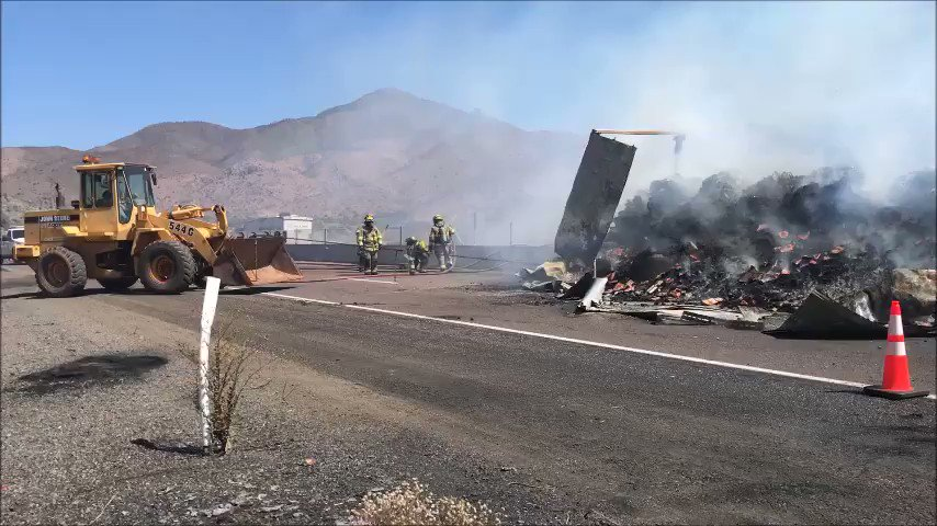 VIDEO: Crews continue to work on a the truck fire that has closed SR 87 SB at milepost 223. This is expected to be an extended closure as crews continue to put out hot spots. #aztraffic