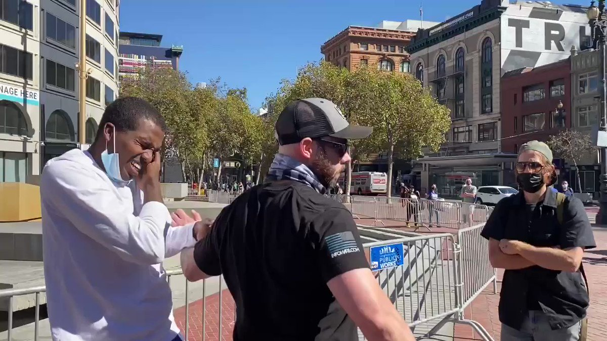 Masked violent far-left militants attack conservatives at a small San Francisco gathering yesterday against Big Tech. Philip Anderson (@TeamSaveAmerica) had his teeth knocked out in an unprovoked punch to the mouth.
