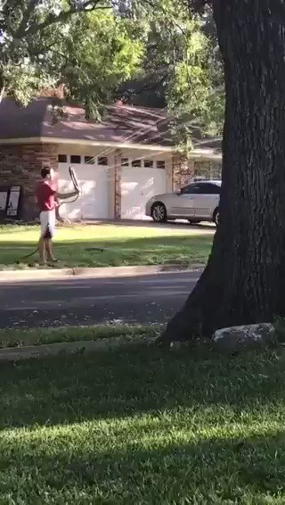 "A woman was driving through the Oak Hill area of Austin, Texas on Monday when she saw a #BlackLivesMatter sign in a yard.   She stopped her car and yelled ""White Lives Matter"" for 30 minutes.   The owner told her to leave or be sprayed with a water hose."