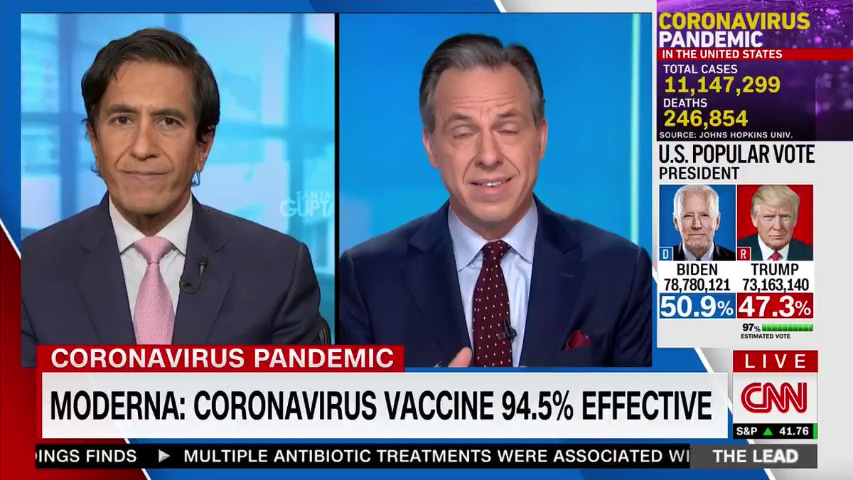 """SURPRISE, SURPRISE!!  After lying to the American People for an untold number of pre-election months in claiming that the @realDonaldTrump vaccine is not to be trusted, CNN REVERSES!  Post-election, CNN now admits the """"unmitigated success"""" of Trump. ⬇️"""