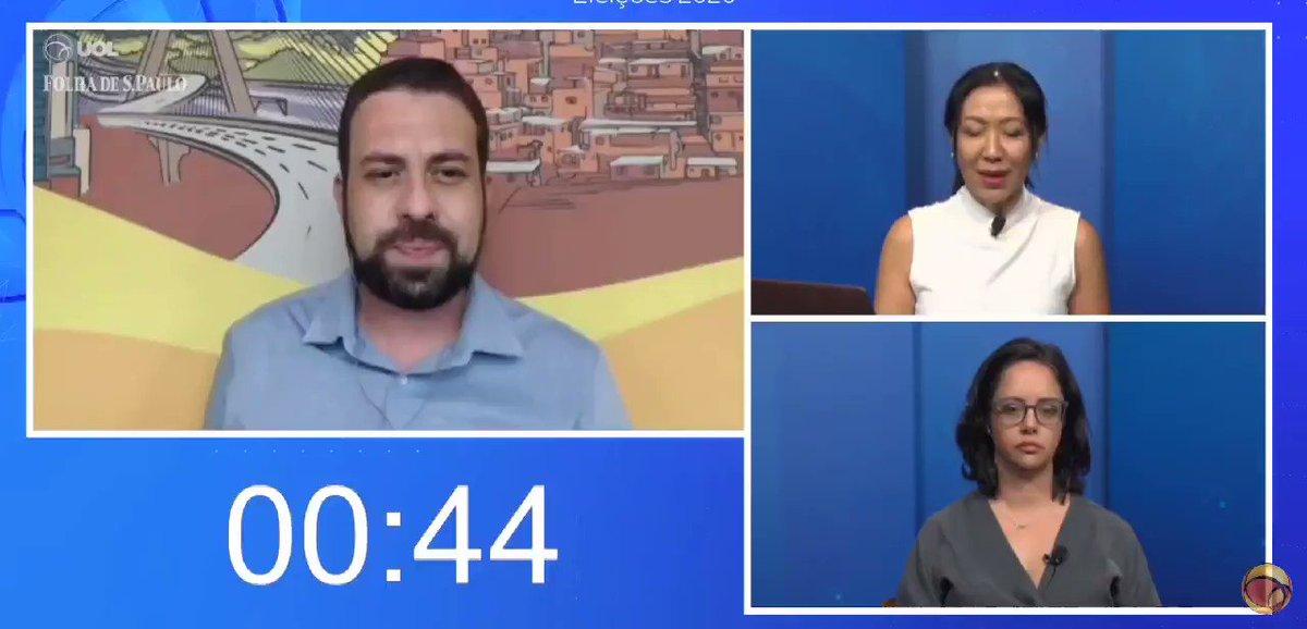 Contexto: Sabatina UOL/Folha de S. Paulo com Guilherme Boulos. Faltando 45s do tempo, Thaís Oyama usa 38s, não deixando tempo para Boulos responder e fazer suas considerações finais. A jornalista Luciana Coelho (Folha) também estava na sabatina e ficou visivelmente incomodada.