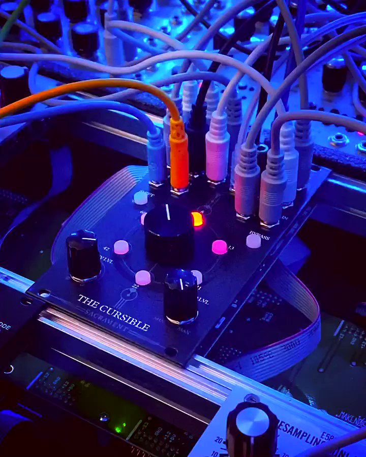 """@sacramentmodular modular The first patch with """"The Cursible""""which is a 14HP 6 channel, morphing effects-send matrix https://t.co/qqu8EfL31z"""