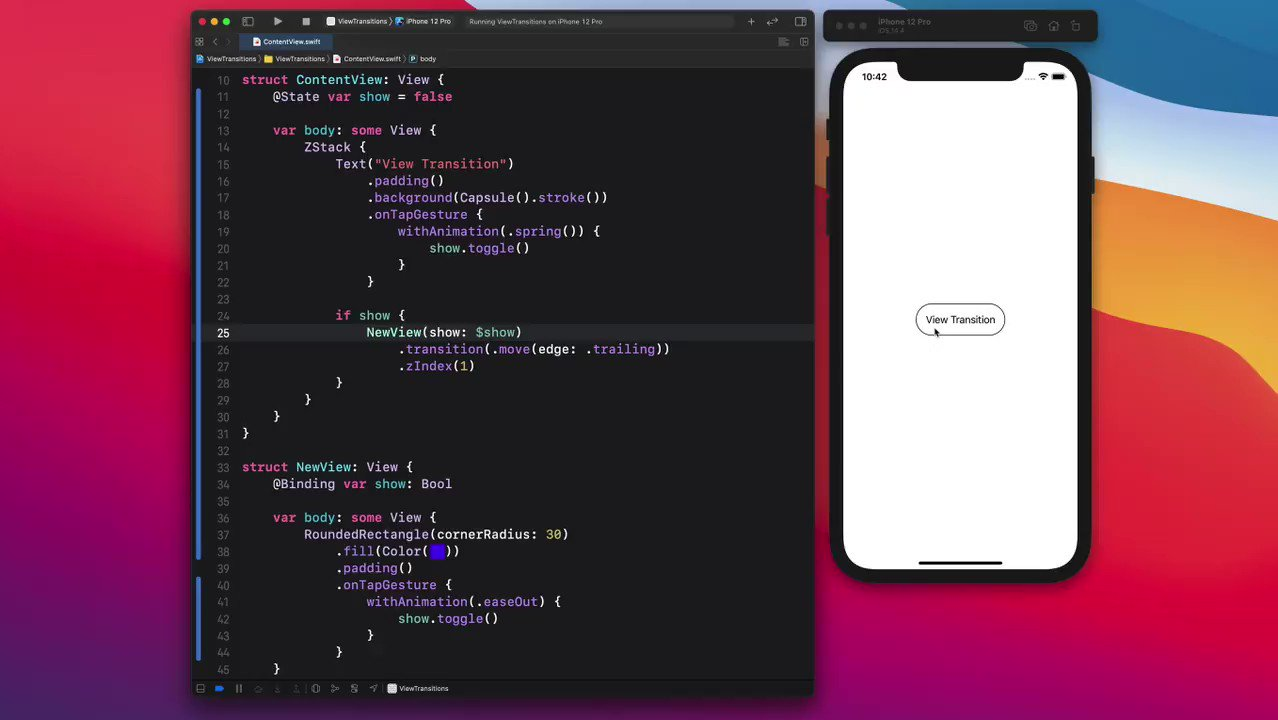 A simple way to set up your view transition in SwiftUI. Make sure to set the zIndex to always keep the new view above. https://t.co/fyk9YAhYAC