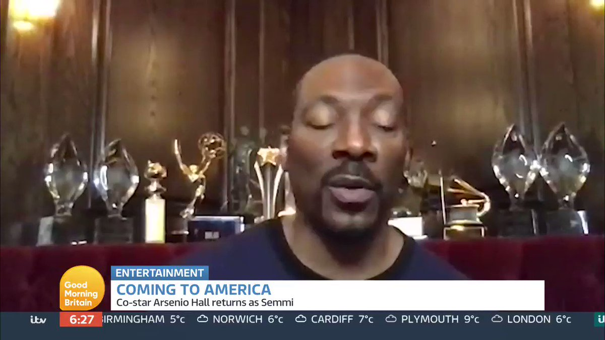 The long-awaited sequel to the 1988 comedy classic Coming To America is set to be released online tomorrow.  Eddie Murphy talks to @RichardAArnold about his surprise at how successful Coming To America became.  Watch GMB on the ITV Hub 👉