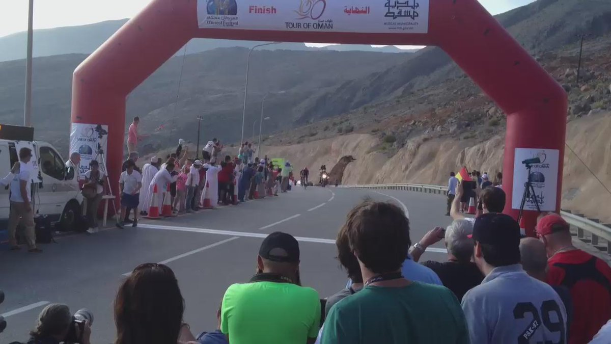 #TourofOman Stage 4 finish video: @lampre_merida's @RafaVallsFerri wins ahead of @BMCProTeam's @tejay_van. http://t.co/xtoYoaFFGX