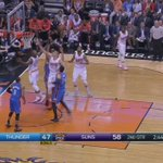 Halftime in PHX. Thunder trails @Suns 62-54. Westbrook 23 points. VIDEO: DJ to Russ up top. @FSOklahoma @NBATV http://t.co/mULQneFmO3