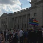 @HRC rally on Arkansas State Capitol steps urging Governor Hutchinson to veto Religious Freedom Bill #HB1228 http://t.co/3bw47MkGMi