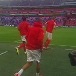 The @Arsenal players step onto the pitch for the warm up #RFCvAFC http://t.co/EulUMeT0kf