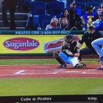 Fan at the Cubs/Pirates game too close to the net behind home plate and takes one to the head http://t.co/FQpL2pApeV