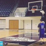 ACU AD @ldeleon5 shows off his passing skills with @ACU_MBB freshman @_DrakeGreen #ACUMBB http://t.co/OG6aaYH7Ea