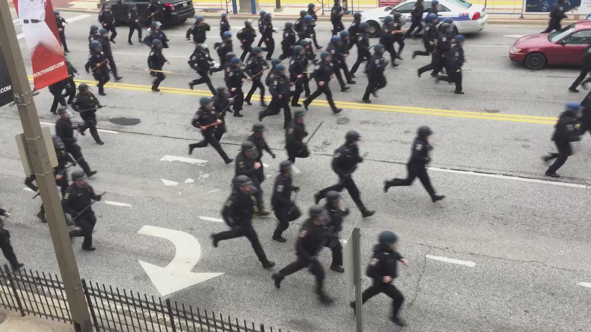 Never a good thing. RT @jelani9: Police have just started chasing protestors. #FreddieGray http://t.co/JJAiBcULic