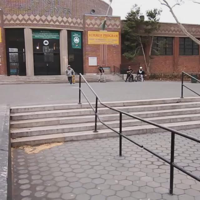 @steezortiz with a quick two trick line at Sunset Park in Brooklyn NY. Filmed by