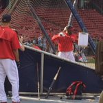 The man everyone is talking about Rusney Castillo taking BP. Castillo replaces Victorino out with calf #fox25 http://t.co/RVrNEvatzx