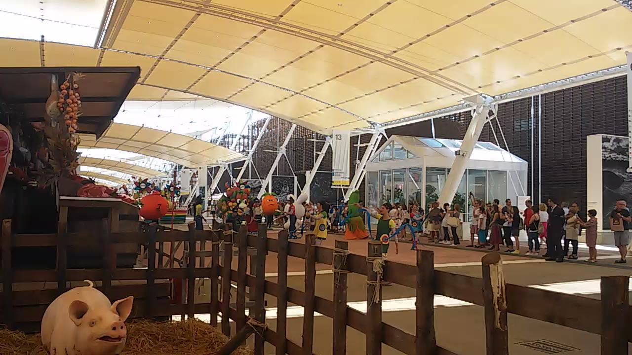 Neanche a farlo apposta,appena arrivata mi accoglie la sfilata di Foody, la mascotte di #Expo2015 #gNeLab @gNellerba http://t.co/BQfxstbMEa