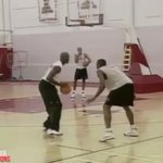 MJ visited a Bulls practice to challenge someone who wanted to play him http://t.co/qzOq8U36Gw