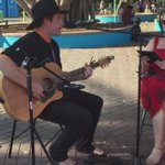 Dave Garnham performing to a chuffed .@VickiKerrigan down at Mindil Beach for #TerritoryDay 2015 http://t.co/O7WmJ1FRL6