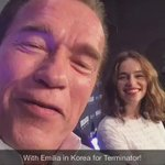Love seeing your tweets about @Terminator while @Emilia_Clarke & I are on tour in Korea. #TerminatorGenisys. Honored. http://t.co/9kWC2qlPmN