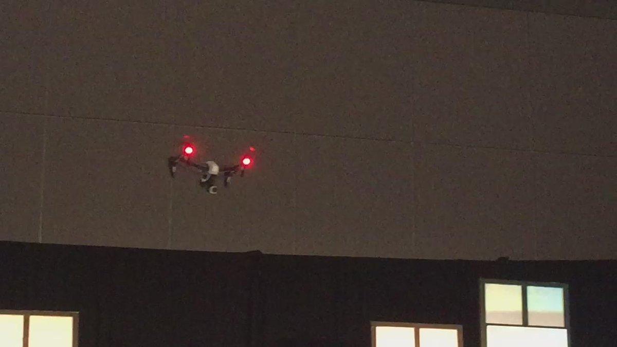 Yep, that's a drone in a meeting room. #DMAI15 http://t.co/e8vxmWrxqU
