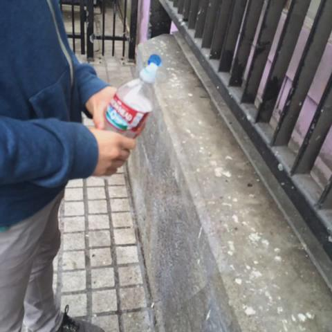 """Testing out a new pee repellent that """"pees back"""" to prevent public urination. http://t.co/6eDJ4w9MWH"""