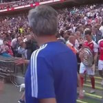 Jose Mourinho congratulates all the Arsenal players & then throws away his Community Shield medal into the crowd. http://t.co/cFJuYZuq96