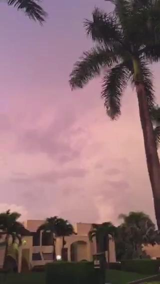 Video: Early skies over North Miami-Dade, 7 a.m., sunrise to east, lightning and dark clouds to south and west. http://t.co/bnPuO0vZkj