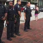 Baltimore police occupying the sidewalk. #FreddieGray http://t.co/PXsUS14cZO