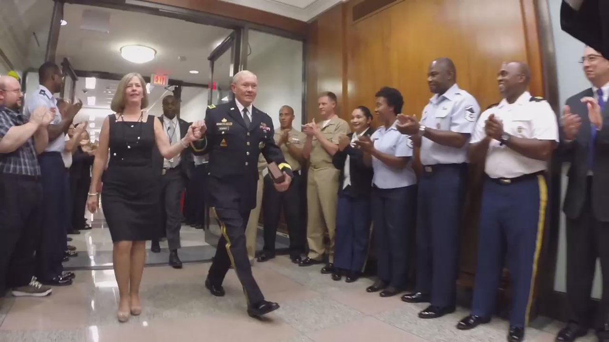 GEN Dempsey & his family are applauded as they leave the Pentagon. Dempsey is retiring after 41 yrs of service. http://t.co/EOUGRPQRqd