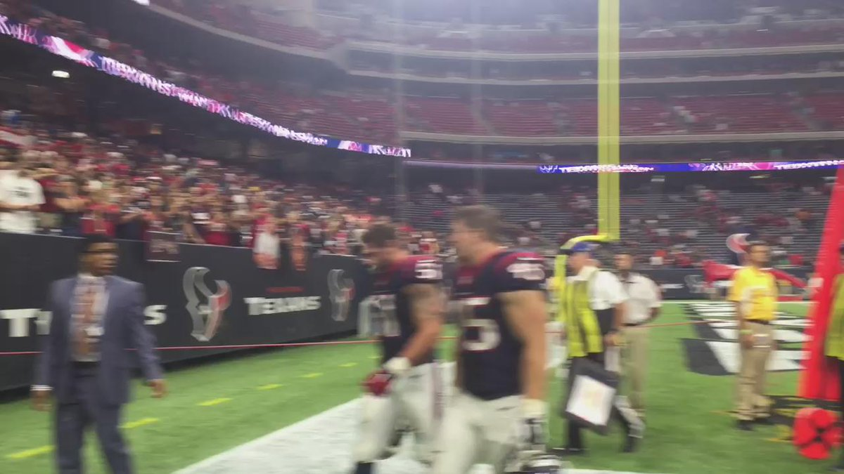 J.J. Watt and the #Texans exit the field after their first victory of the season. http://t.co/T57wnrH31e